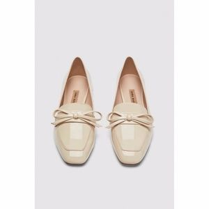 NEW Zara New Bow Faux Patent Loafer